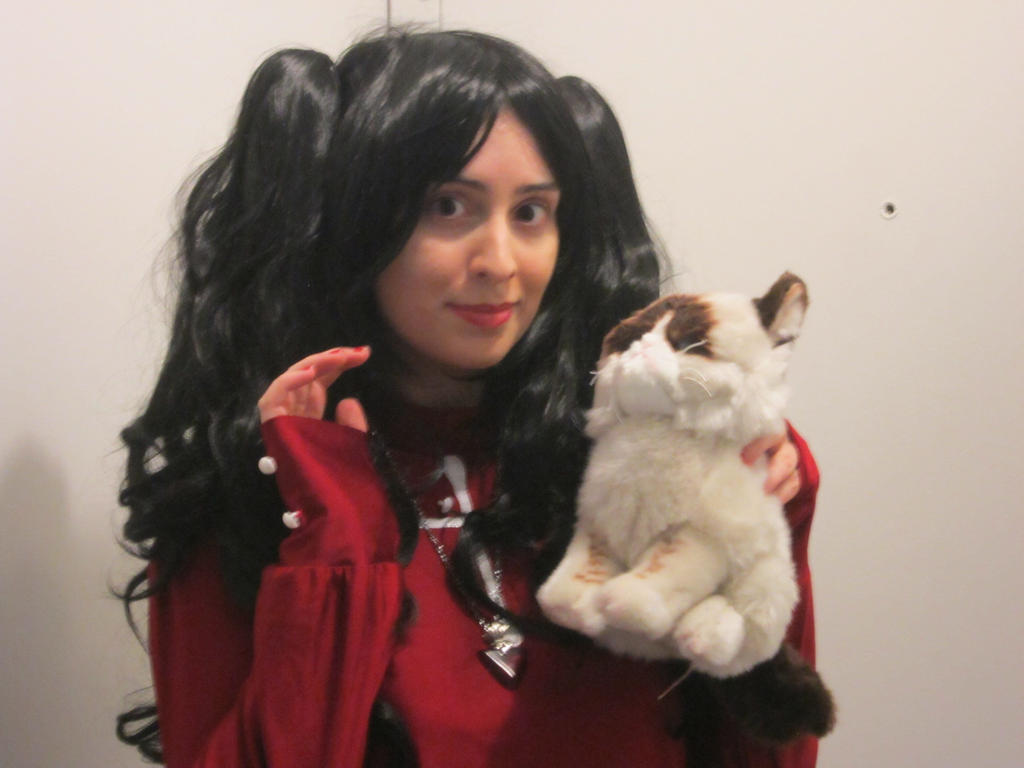Rin Tohsaka With Grumpy Cat by frost018
