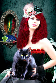Victorian Lady and her cat.