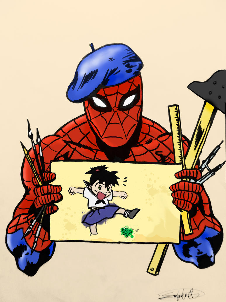 Spiderman's Drawing xD by EricKamiche