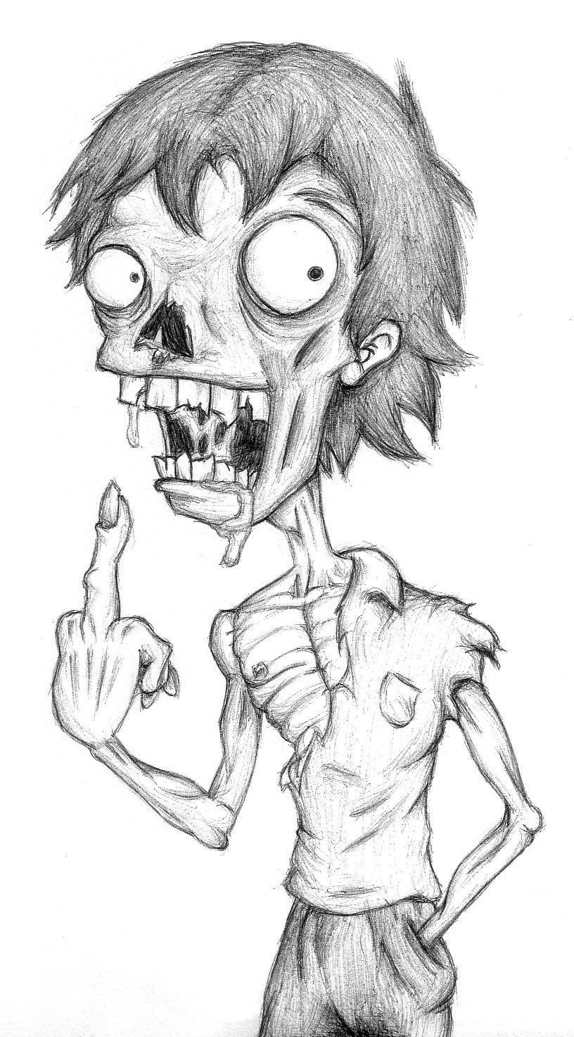 How To Draw A Realistic Zombie Face Jpg 816x1472 Cute Simple Zombie  Drawings Showing Post &