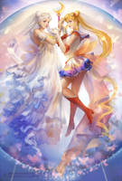 SAILOR MOON and Princess Serenity by MoonlightYUE
