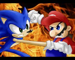 Duel - Sonic vs Mario by Iles-Gerker