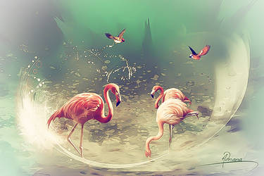 Flamingos 2 by Adriana-Madrid