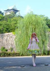 Sweet Lolita in front of Osaka Castle