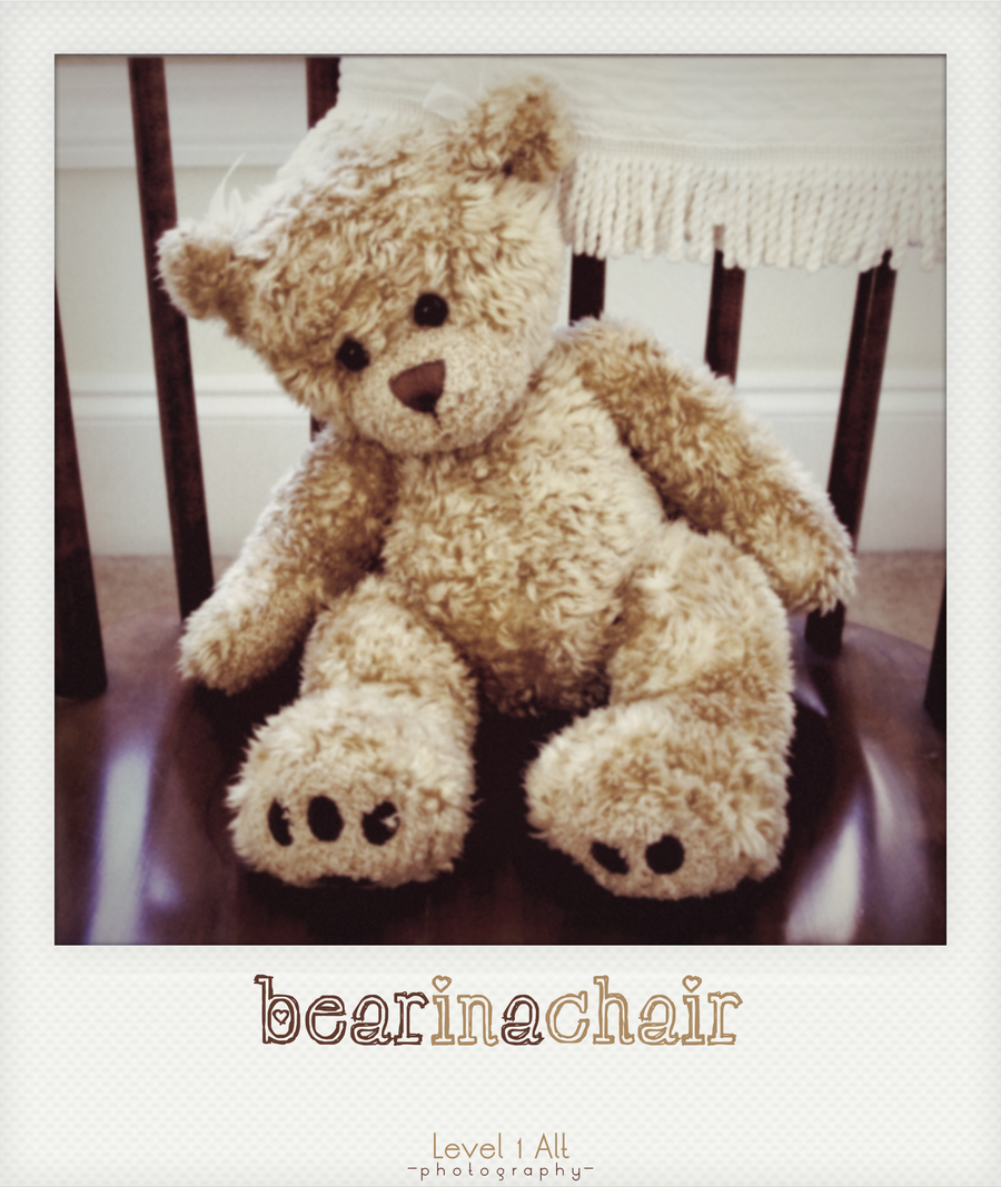 Bear In A Chair Polaroid by atLevel1Alt