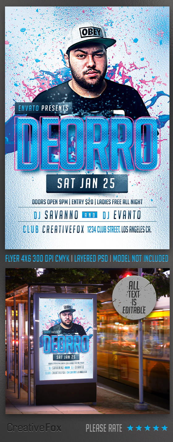 Electro House Party DJ Flyer Template PSD by creativefox33 on DeviantArt