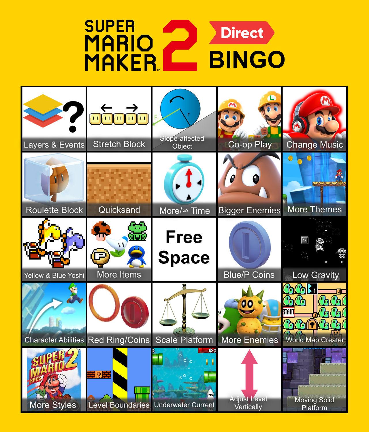 Super Mario Maker 2 Direct Bingo Card by MysteriousGalaxy64