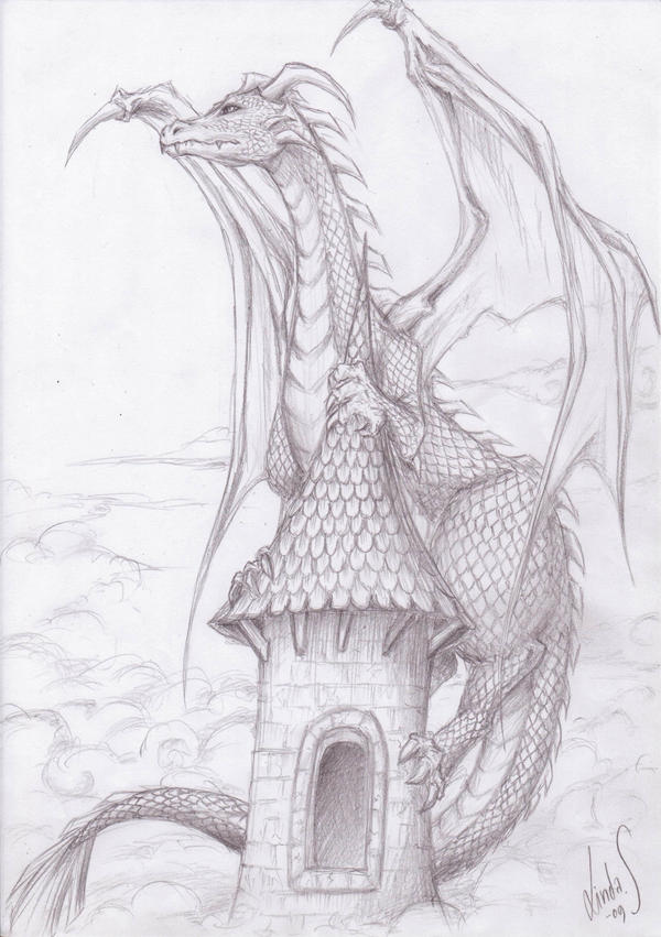 dragon of the tower and clouds by mizusasori