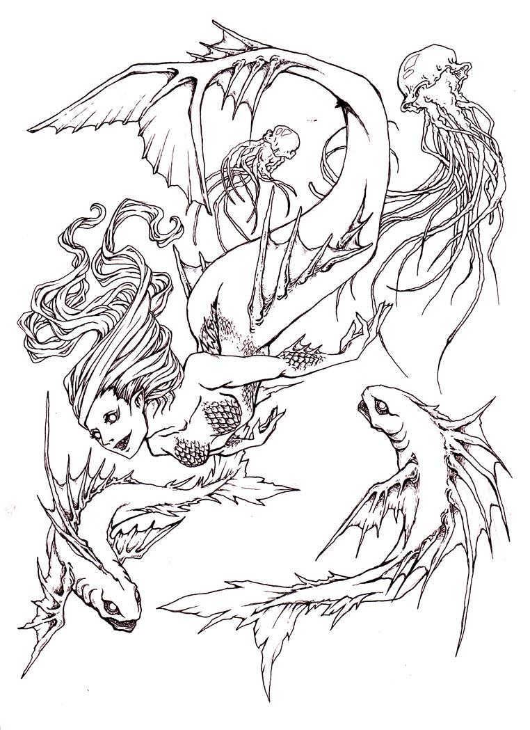 Mermaid lineart by MizuSasori