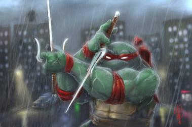Raphael playing in the rain by thedarkcloak