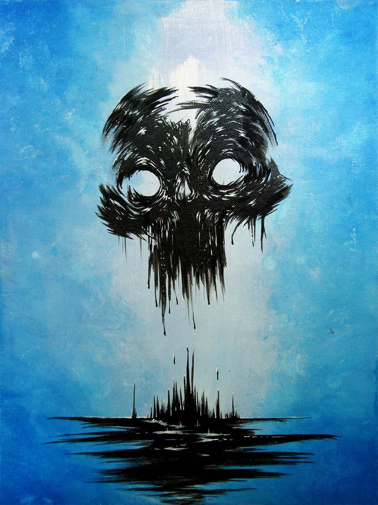 Inky Blotch Skull by thedarkcloak