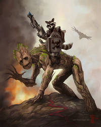 Rocket and Groot - THE DAMAGE DEALERS by thedarkcloak