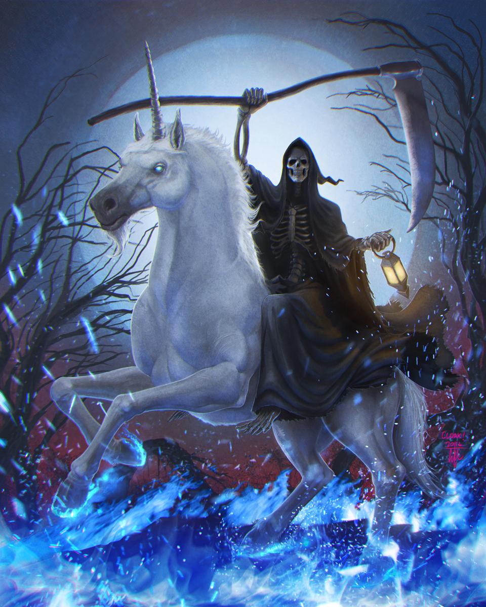 Death Riding a Unicorn by thedarkcloak