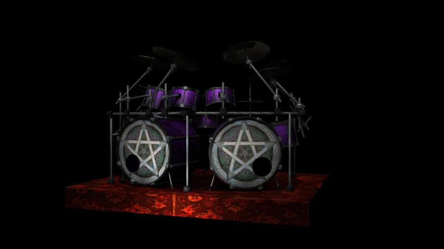 Drum Set Wallpaper 3d Double Bass Drum Set