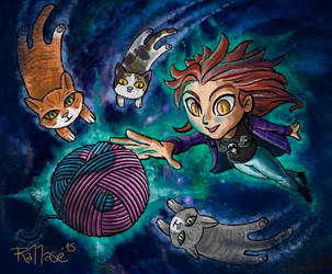 Den and cosmic kitties by Rallase