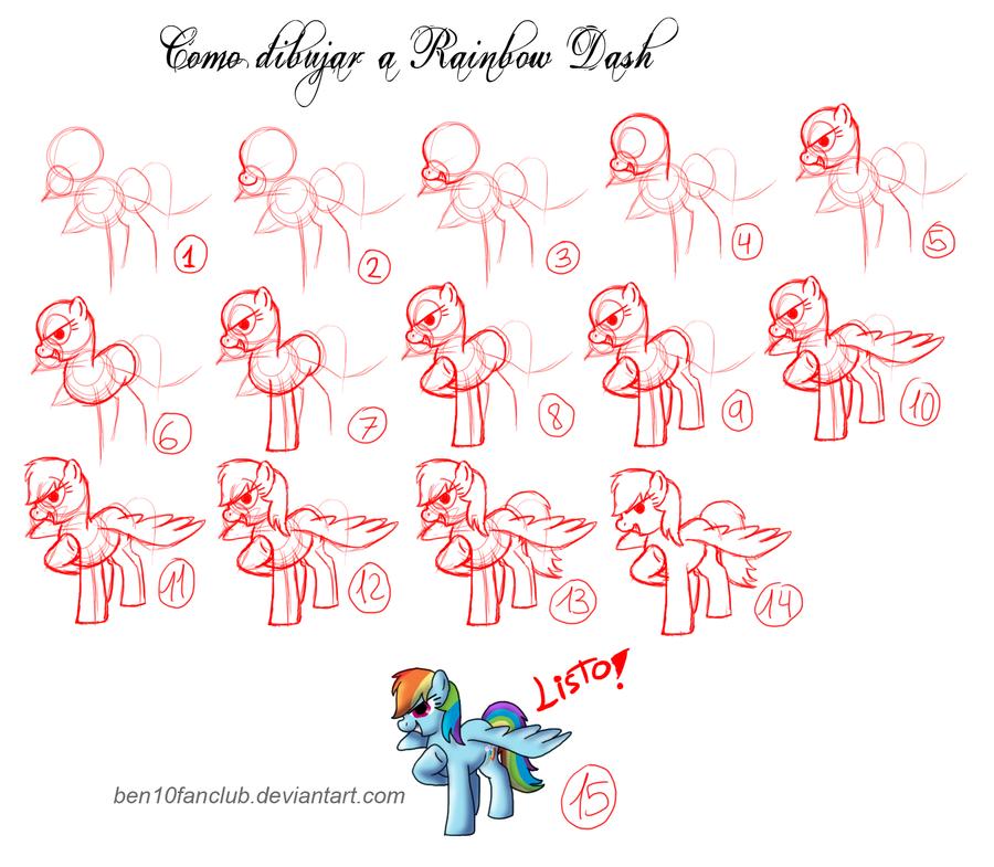 How to draw Ponys-Rainbow Dash