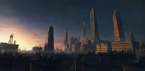 morning industrial city