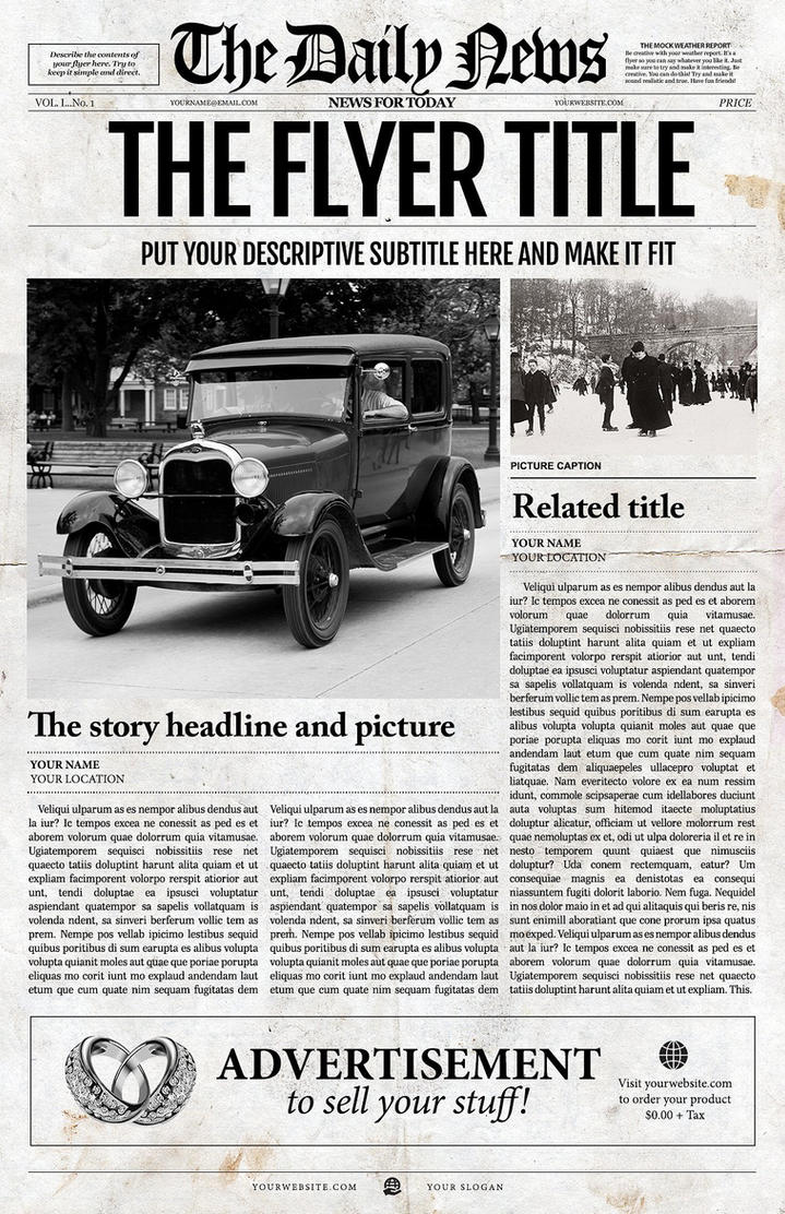 Newspaper Template For Adobe Photoshop By Newspaper Templates On