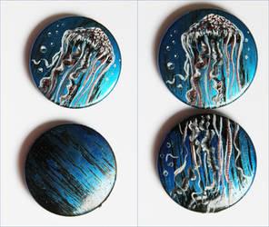 Jellyfish hand painted beads