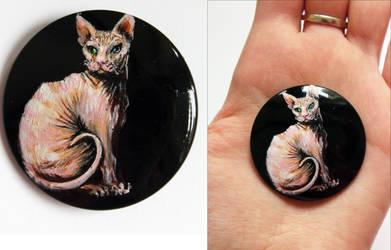 Hand painted Sphynx cat custom button