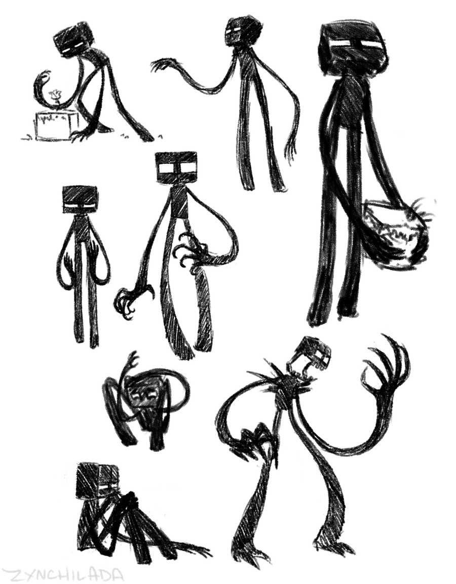 Endermen doodles by zynwolf