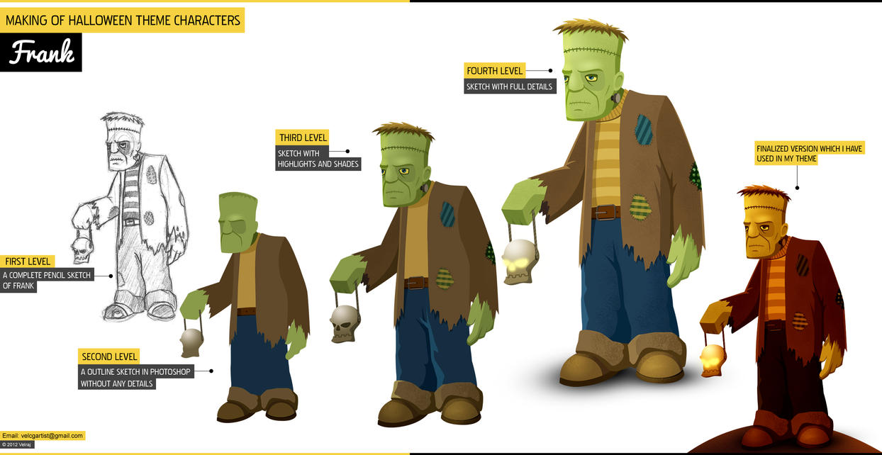 Gmail themes halloween - Making Of Halloween Theme Characters Frank By Velcgartist