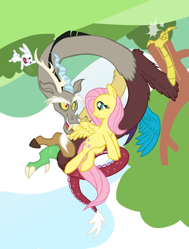 Fluttershy and Discord, Best Friends 5ever! by GrandpaLove