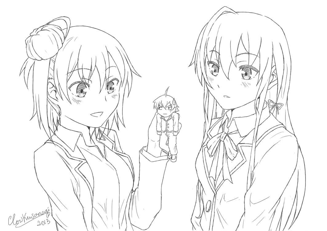 Oregairu Sketch/Lineart by ClowKusanagi