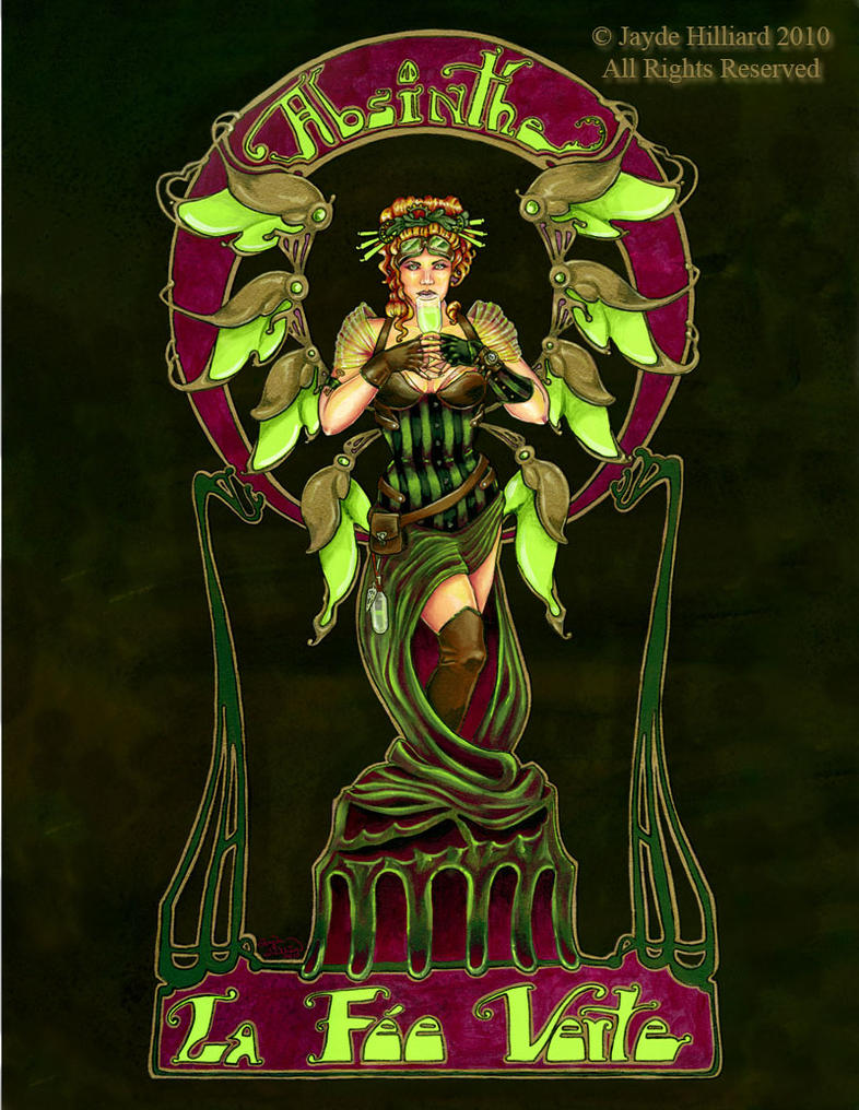 Absinthe Fairy Poster Black by redrevvy