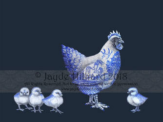 Blue Willow Hen and Chicks by redrevvy