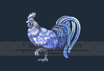 Blue Willow Rooster by redrevvy
