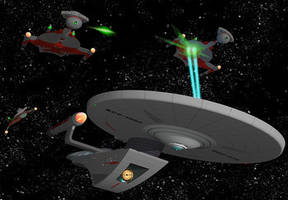 USS Expedient Romulan Fight by calamitySi