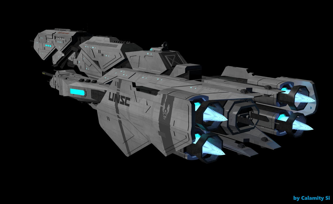 Halo 5 UNSC Frigate Triton: Test Render #2 by calamitySi