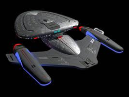 Star Trek ship USS Legacy Rear Quarter view by calamitySi