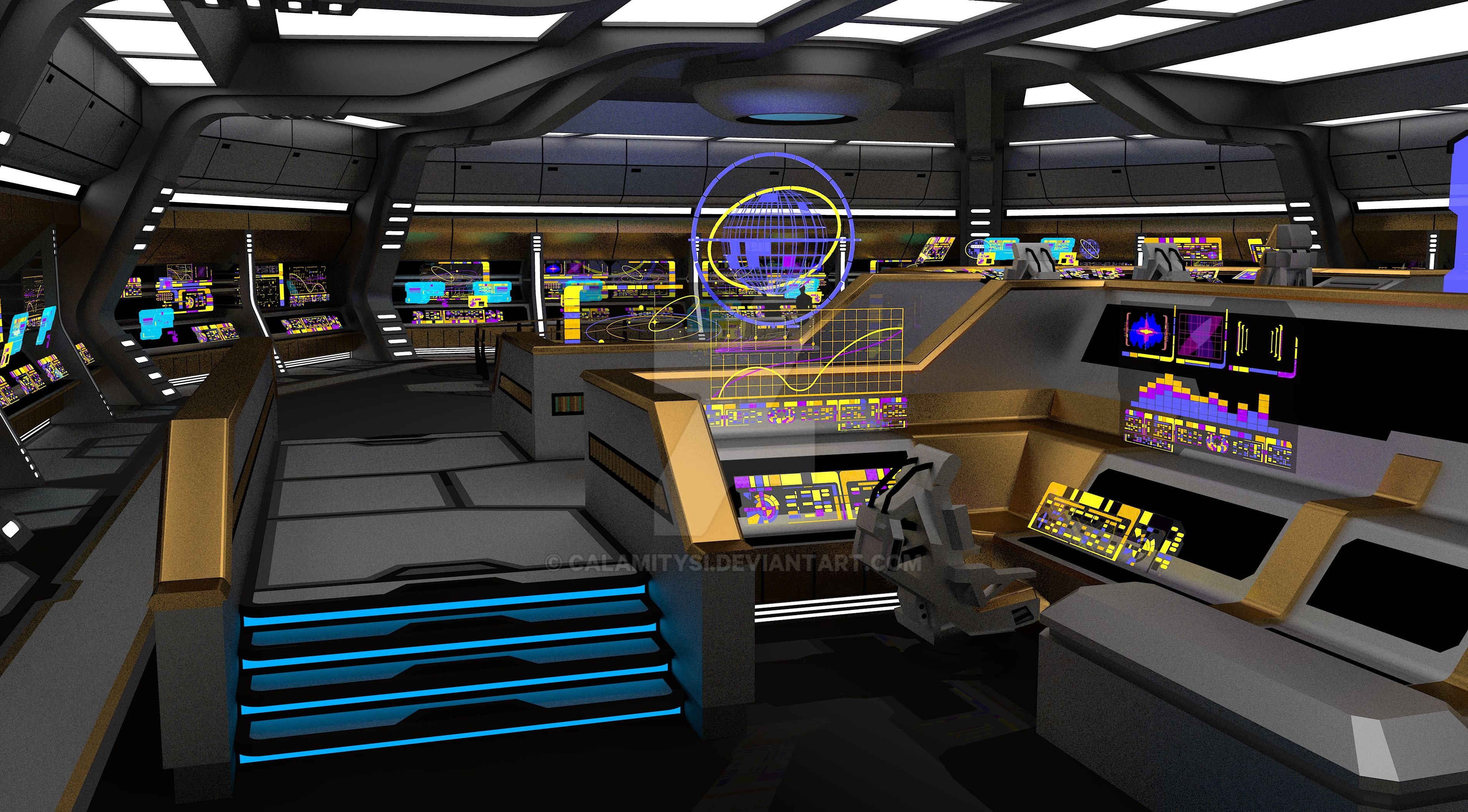 Federation Carrier Starship Uss Valkyrie Bridge 7 By
