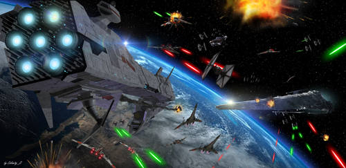 Star Wars Space Battle by calamitySi
