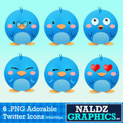6 Cute Twitter Icons Pack by NaldzGraphics