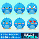 6 Cute Twitter Icons Pack