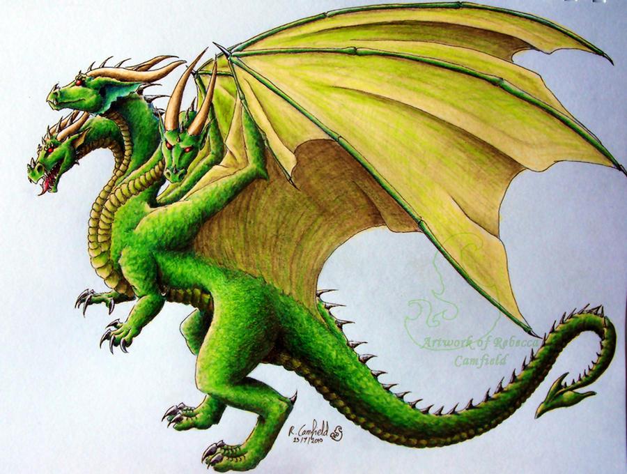 Three headed dragon by chaosia