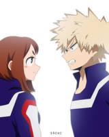 Ochako and Bakugou by S4chi