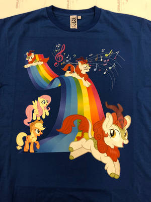 Autumn Blaze singing on a rainbow Tshirt by ramivic