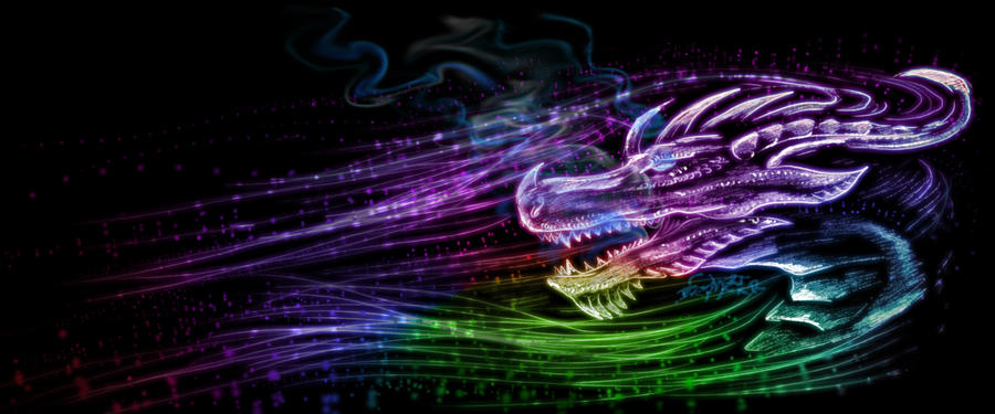 rainbow dragon by Bephza