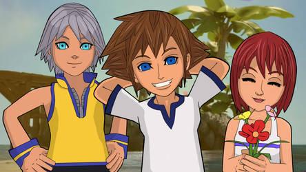 Sora, Riku and Kairi by Matenka