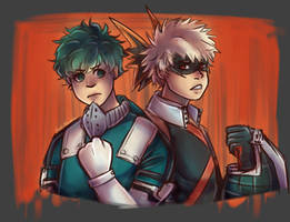 Midoriya and Bakugo || BNHA by Mad-Akuma