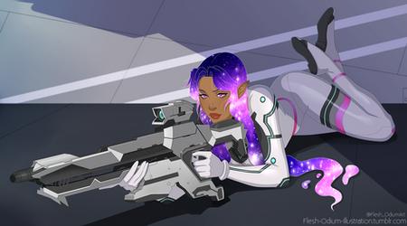 Captain Nebula Starliege -Nebbie- (cellshade comm) by Flesh-Odium