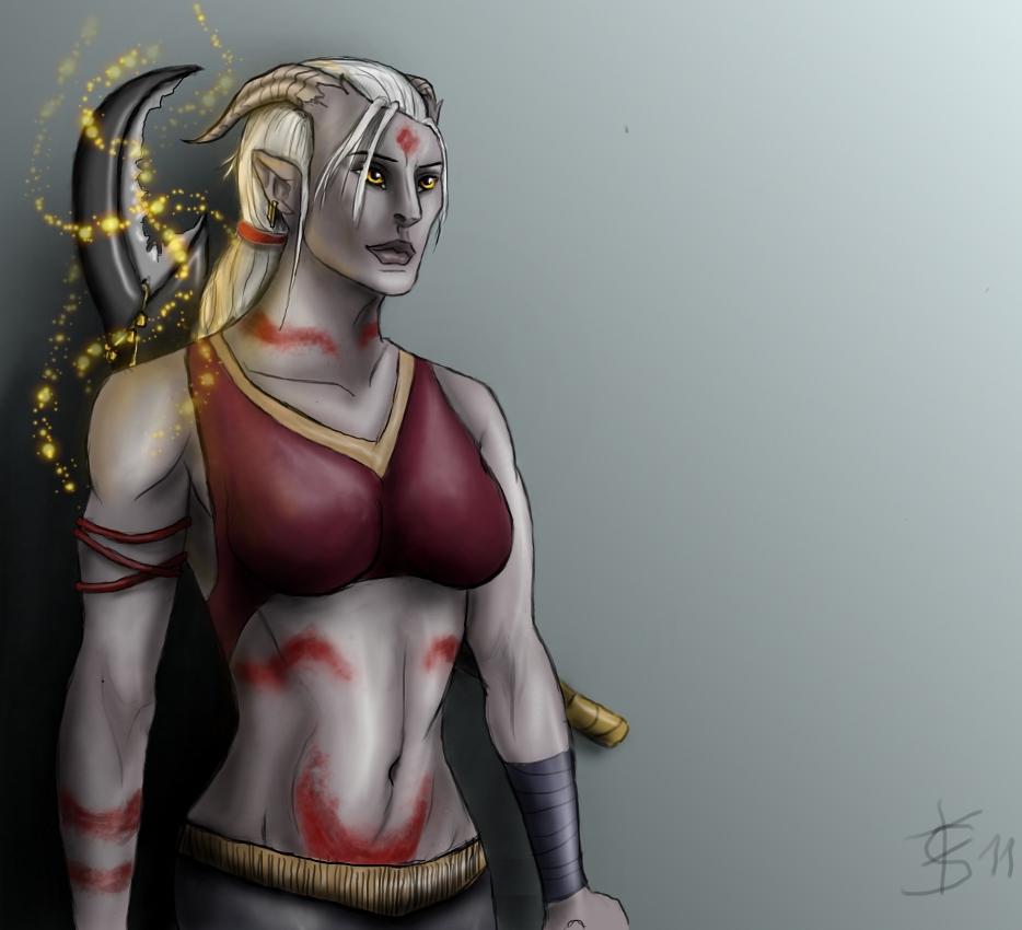 Female Qunari Mage by KajatheDog