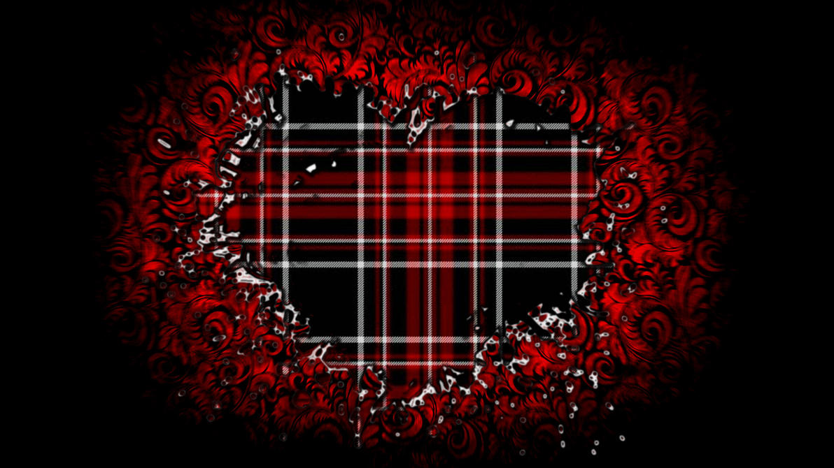 Black and Red Plaid Heart Wallpaper by RoulettesPlay