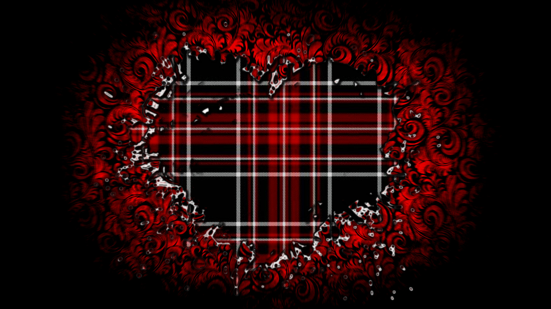 Black And Red Plaid Heart Wallpaper By Roulettesplay On Deviantart