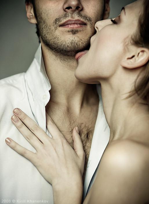 Girl lick man