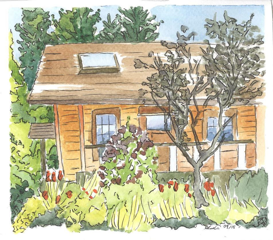 Watercolour and ink--cottage by Avalon620